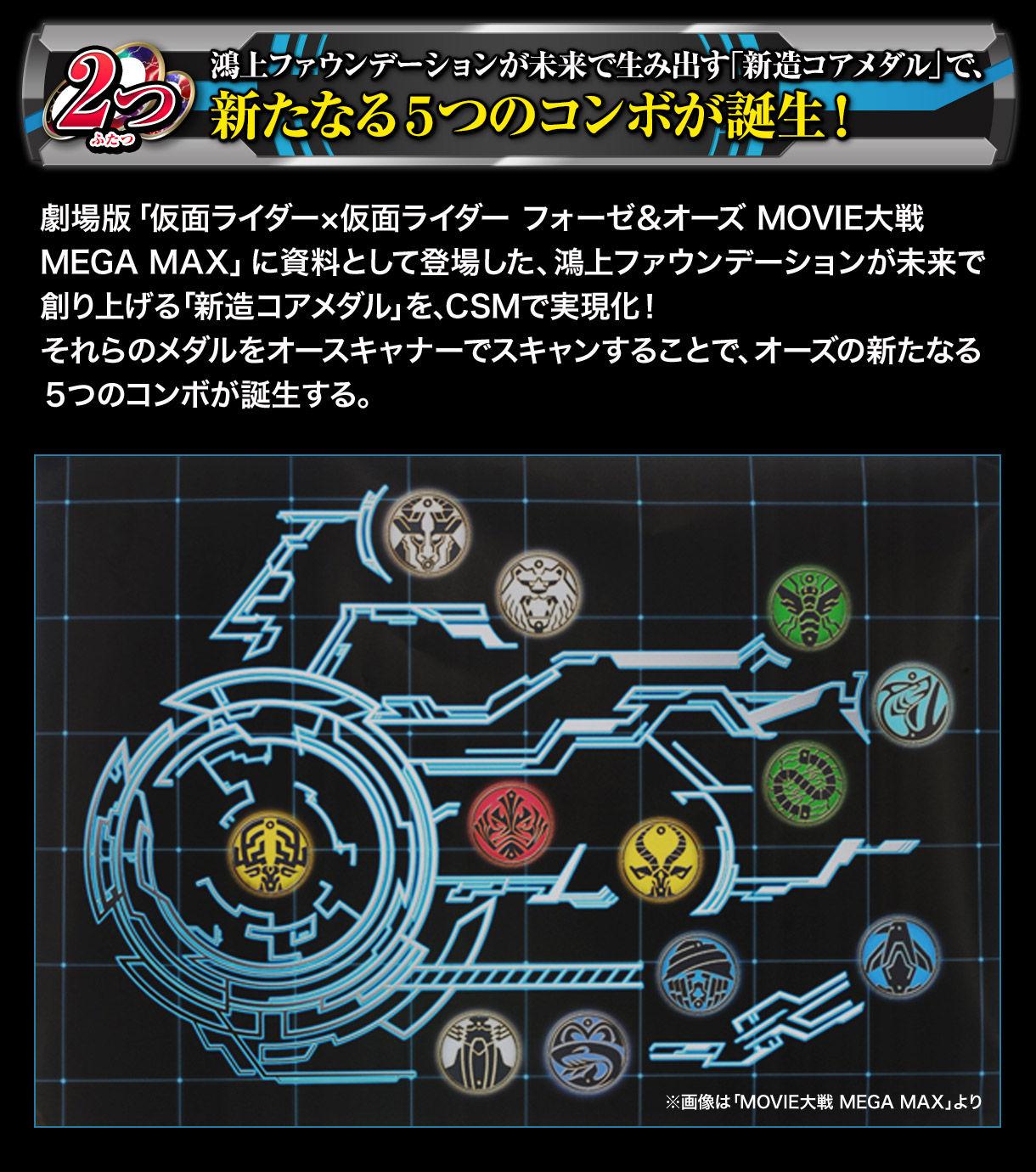 2つ:鴻上ファウンデーションが未来で生み出す「新造コアメダル」で、新たなる5つのコンボが誕生!