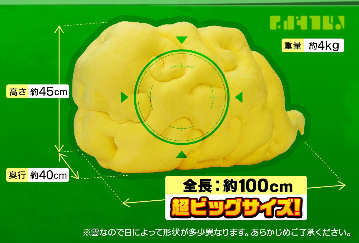 全長:約100cm 超ビッグサイズ! (重量:4kg、高さ:約45cm、奥行:約40cm) ※雲なので日によって形状が多少異なります。あらかじめご了承ください。