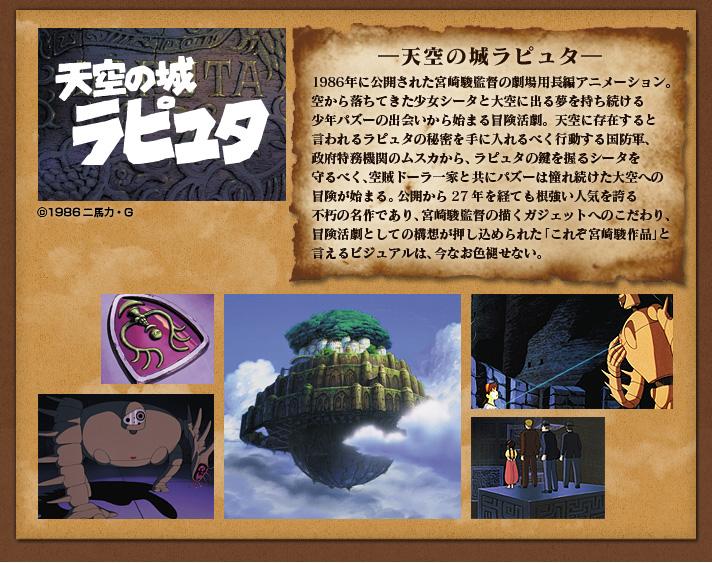 1986年に公開された宮崎駿監督の劇場用長編アニメーション。空から落ちてきた少女シータと大空に出る夢を持ち続ける少年パズーの出会いから始まる冒険活劇。