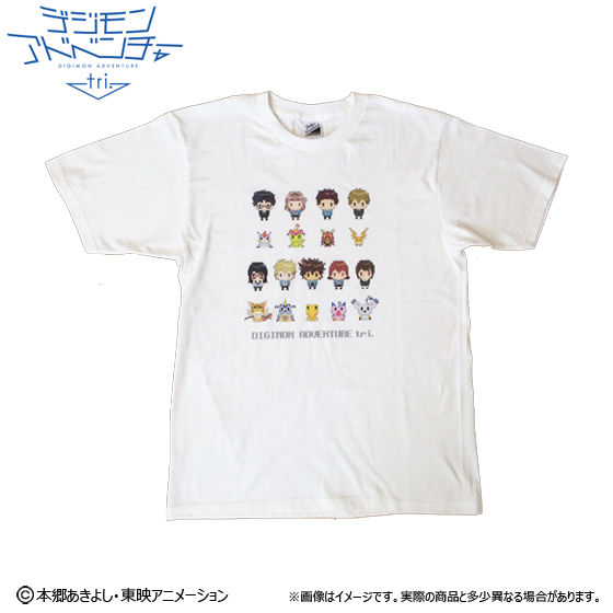 [プレミアムバンダイ限定販売]デジモンアドベンチャーtri ドットビット Tシャツ 選ばれし子供達全員集合柄