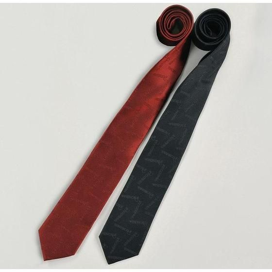 WIND SCALE ネクタイ ロゴ総柄 レッド、ブラック