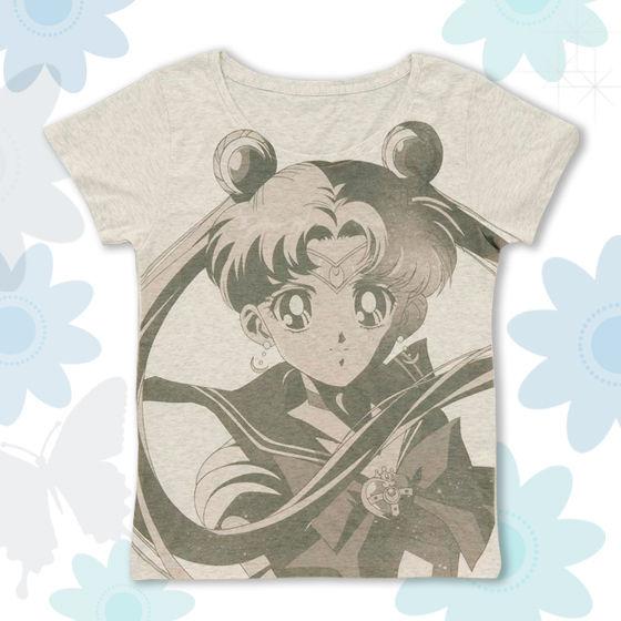 美少女戦士セーラームーン フルプリントTシャツ face柄 杢グレー