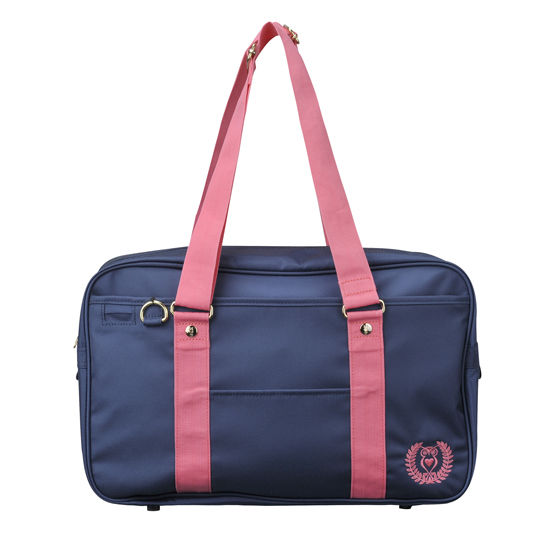 ベーシックスクールバッグ ネイビー(ピンク刺繍)