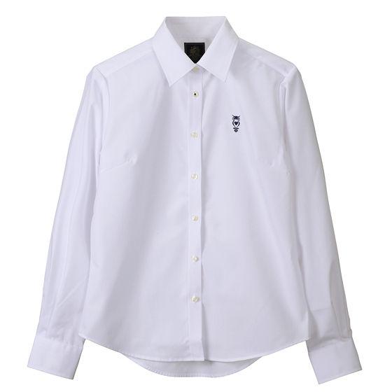 ブロードシャツベーシック ホワイト(ネイビー)
