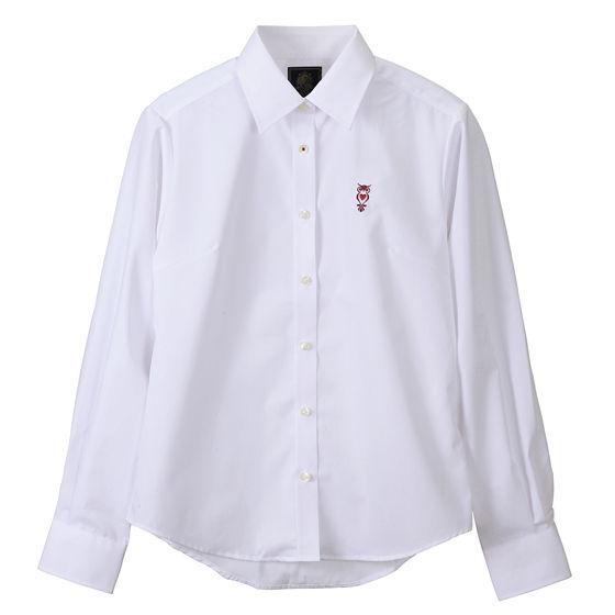 ブロードシャツベーシック ホワイト(ワインレッド)