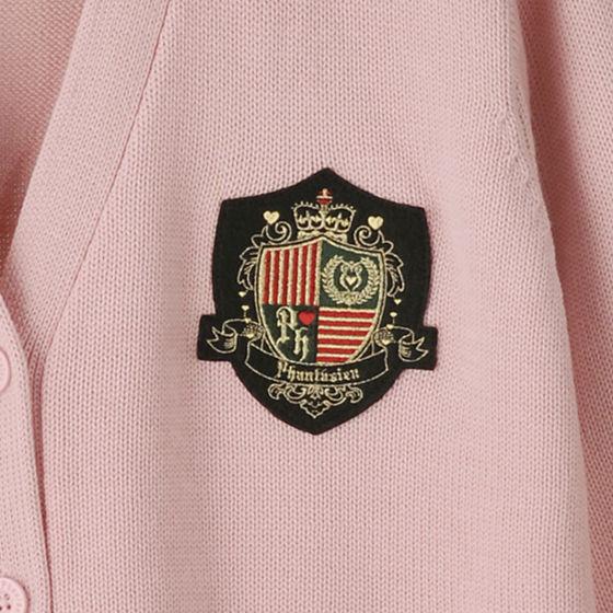 ベーシックカーディガン(エンブレム) ピンク