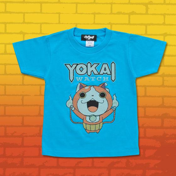 妖怪ウォッチ 親子Tシャツ KIDSサイズ ジバニャン ターコイズブルー