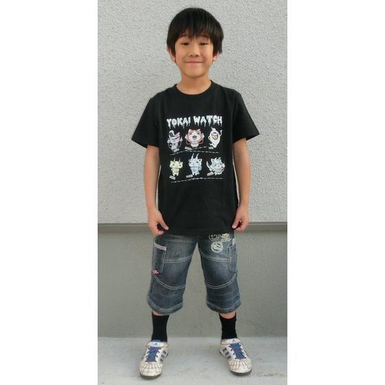 妖怪ウォッチ 親子Tシャツ KIDSサイズ キャラクター集合 黒