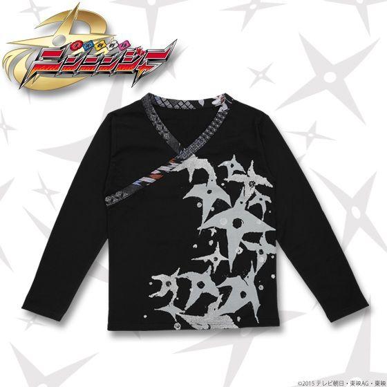 手裏剣戦隊ニンニンジャー×C&Y SUN & C&LE MOON 伊賀崎天晴 長袖Tシャツ 黒×グレー