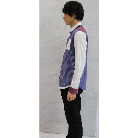 手裏剣戦隊ニンニンジャー 加藤・クラウド・八雲 切り替え二重襟シャツ ブルー×レッドチェック