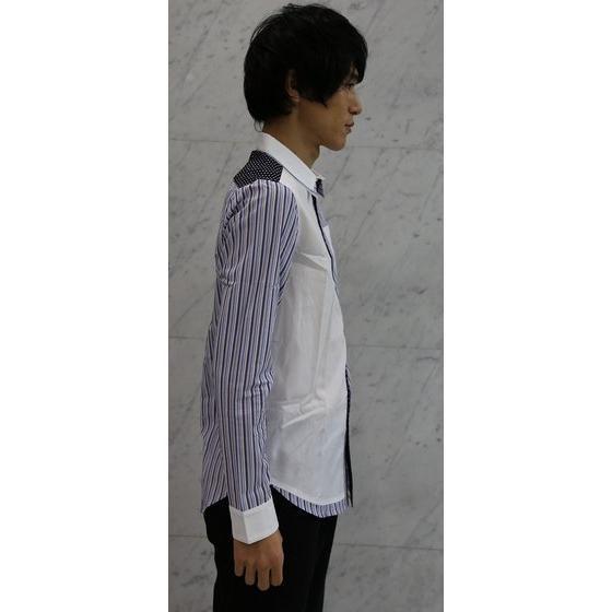 手裏剣戦隊ニンニンジャー 加藤・クラウド・八雲 切り替え二重襟シャツ ネイビー水玉×ブルーストライプ