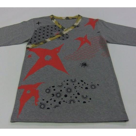 手裏剣戦隊ニンニンジャー×C&Y SUN & C&LE MOON アカニンジャー 伊賀崎天晴 長袖Tシャツ 杢グレー