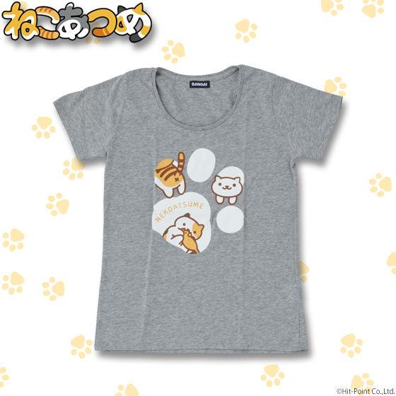 ねこあつめ 足跡柄Tシャツ レディースサイズ