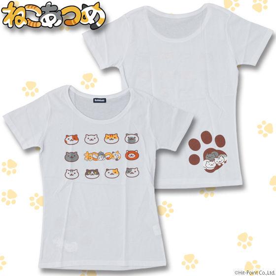 ねこあつめ 顔集合柄 Tシャツ レディースサイズ
