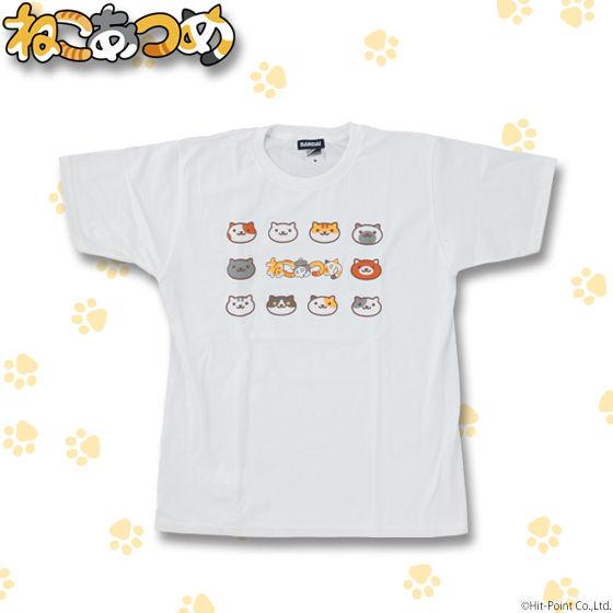 ねこあつめ 顔集合柄 Tシャツ メンズサイズ