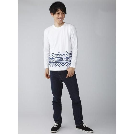動物戦隊ジュウオウジャー 風切大和長袖Tシャツ ノルディック風裾プリント(ホワイト)