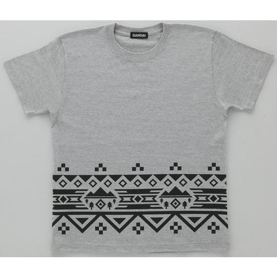 動物戦隊ジュウオウジャー ジュウオウイーグル/風切大和 半袖Tシャツ ノルディック裾柄(ミックスグレー)