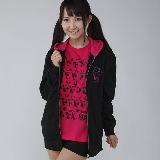 仮面ライダーシリーズ45周年記念 仮面ライダーエグゼイド&平成ライダーマーク パーカー(ピンク)