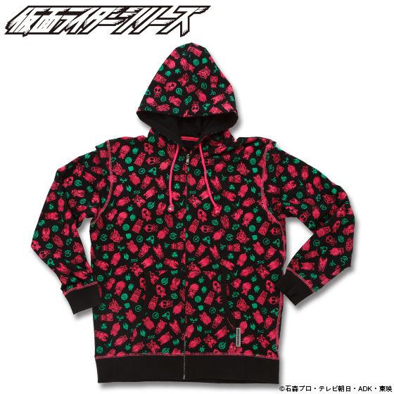 仮面ライダーシリーズ45周年記念 平成ライダーデフォルメ総柄パーカー