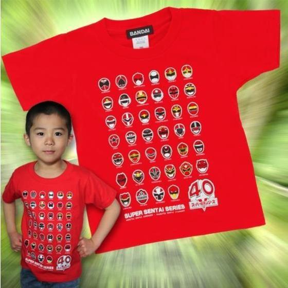 スーパー戦隊シリーズ40作品記念 歴代レッドフェイスTシャツ こども用