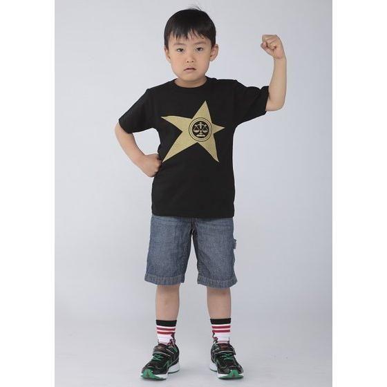 宇宙戦隊キュウレンジャー 「テンビンゴールド」なりきり風デザインTシャツ こども用