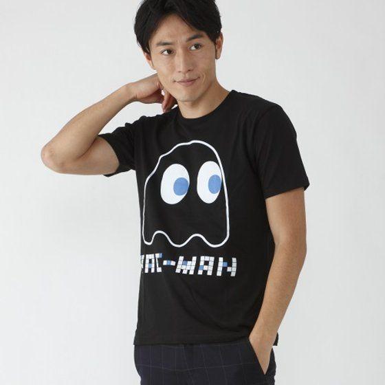 パックマン 大人用Tシャツ ゴースト柄(ブラック)