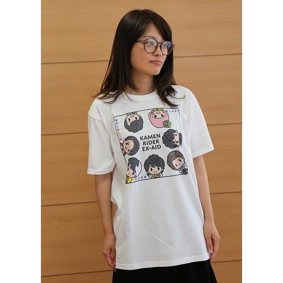 仮面ライダーエグゼイド デフォルメ柄Tシャツ(白)