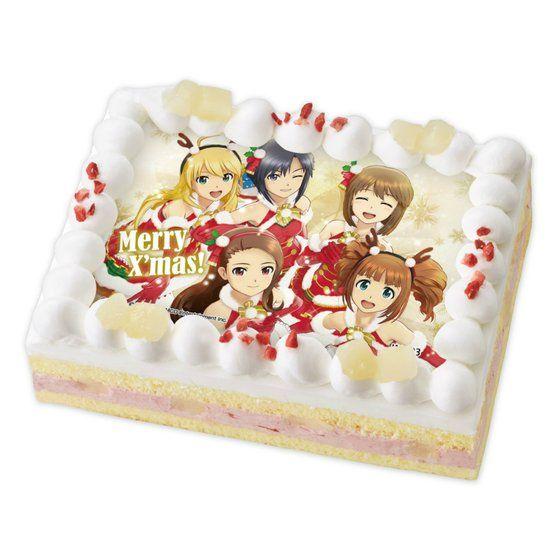 [キャラデコプリントケーキ クリスマス]アイドルマスター 雪歩・やよい・伊織・真・美希