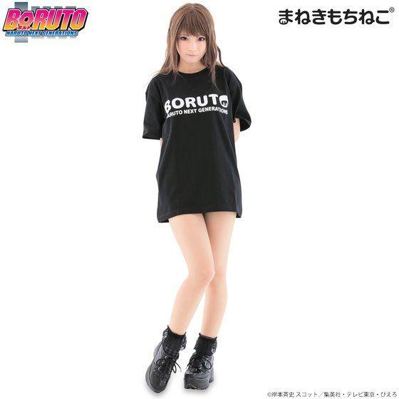 まねきもちねこ BORUTO Tシャツ 黒