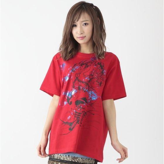 仮面ライダービルド×h.NAOTOコラボTシャツ(赤) 万丈龍我 青箔ver.
