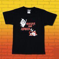 妖怪ウォッチ 親子Tシャツ KIDSサイズ ウィスパー&おやすみジバニャン 黒