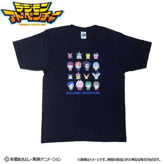 [プレミアムバンダイ限定販売]デジモンアドベンチャー ドットビット Tシャツ 選ばれし子供達全員集合柄