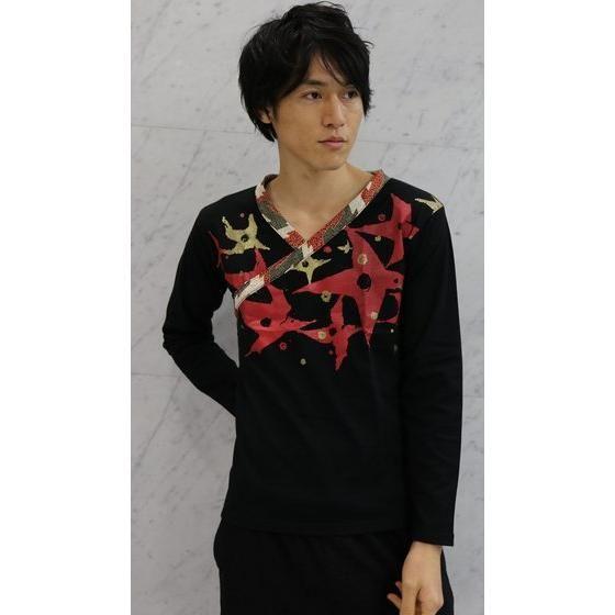 手裏剣戦隊ニンニンジャー×C&Y SUN & C&LE MOON アカニンジャー 伊賀崎天晴 長袖Tシャツ 黒×赤