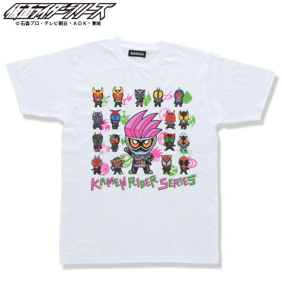 仮面ライダーシリーズ45周年記念 仮面ライダーエグゼイド&平成ライダーマークデフォルメTシャツ