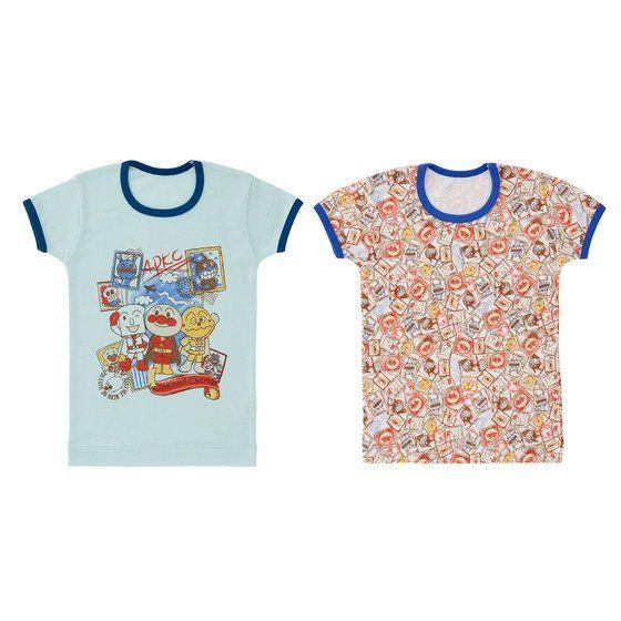 切手柄半袖シャツ2枚組