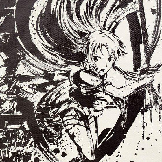 ソードアート・オンライン×墨絵師「御歌頭」×HTML ZERO3 Black Blast キャンバスパネル