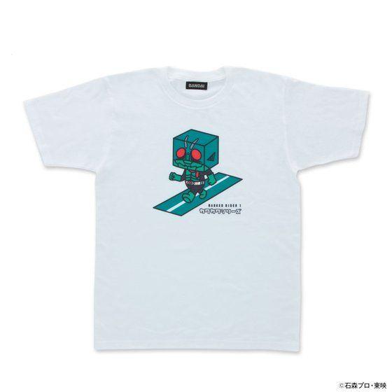 カクカクシリーズ 仮面ライダー1号 半袖Tシャツ白