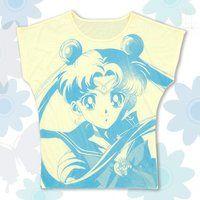 美少女戦士セーラームーン フルプリント ドルマンTシャツ face柄 ライトイエロー
