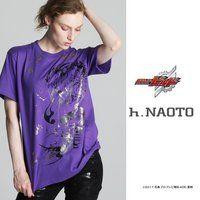 仮面ライダービルド×h.NAOTOコラボTシャツ(紫) 万丈龍我 金箔ver.